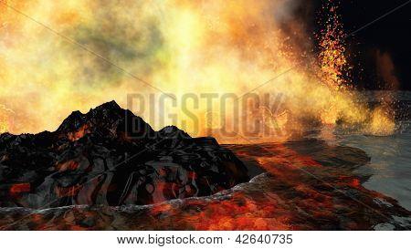 Huge volcanic eruption on land