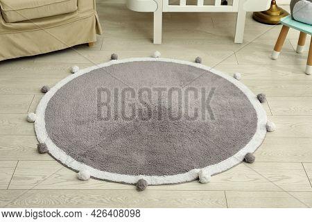Stylish Soft Rug On Floor In Room