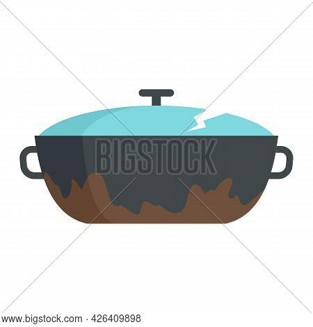 Broken Kitchen Pot Icon. Flat Illustration Of Broken Kitchen Pot Vector Icon Isolated On White Backg