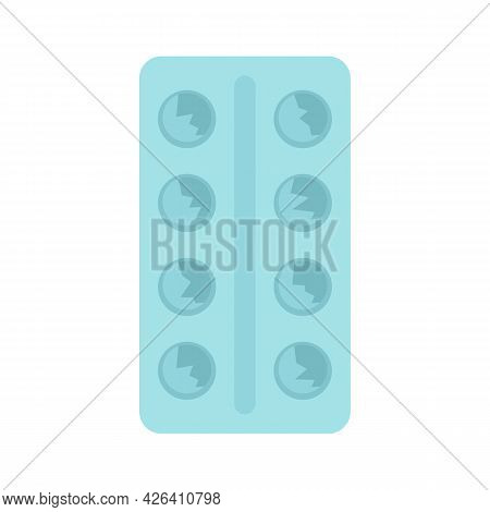 Used Pills Pack Icon. Flat Illustration Of Used Pills Pack Vector Icon Isolated On White Background