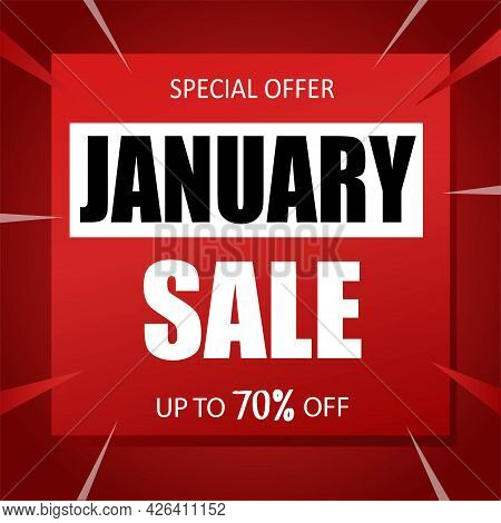 January Sale Banner Special Seasonal Offer Advertising Up To 70 Percent Off Discount Template Design