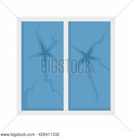 Broken House Window Icon. Flat Illustration Of Broken House Window Vector Icon Isolated On White Bac