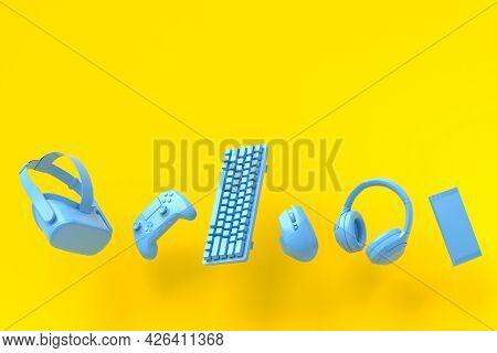 Flying Gamer Monochrome Blue Gears Like Mouse, Keyboard, Joystick, Headset, Vr Headset On Yellow Tab