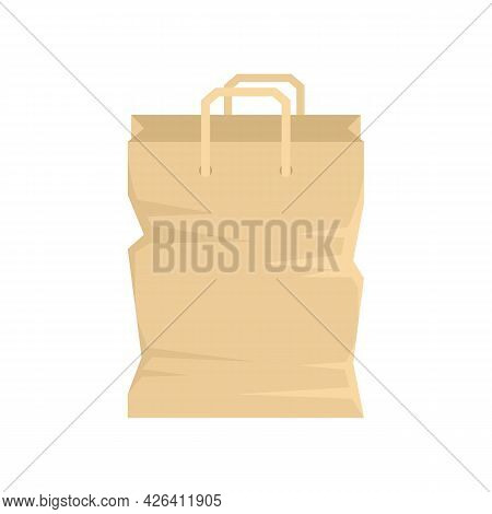 Used Paper Bag Icon. Flat Illustration Of Used Paper Bag Vector Icon Isolated On White Background