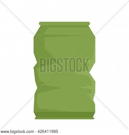 Garbage Energy Drink Tin Icon. Flat Illustration Of Garbage Energy Drink Tin Vector Icon Isolated On