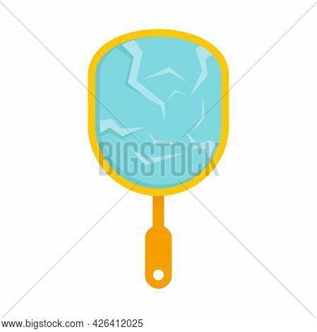 Cracked Hand Mirror Icon. Flat Illustration Of Cracked Hand Mirror Vector Icon Isolated On White Bac