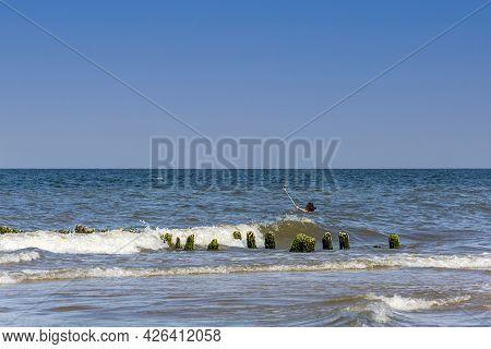 Svetlogorsk, Russia-august 17, 2017: Girl Takes A Selfie In The Waves Of The Baltic Sea,  Svetlogors