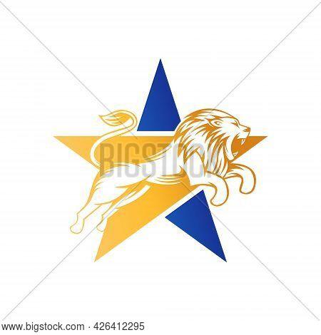 Abstract Lion Star Logo Design Vector template. Lion with Star Shape Logo design concept. Lion. Lion vector. Lion logo. Lion Logo vector. Lion Head logo. Lion icon vector. Lion icon. Lion Shield Logo. Lion vector icon. Lion King Logo.