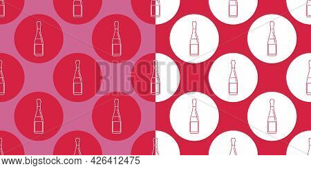 Two View Seamless Pattern Of Bottle Of Red Wine In Flat Style In Form Of Thin Lines. In The Form Of