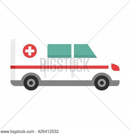 Clinic Amublance Icon. Flat Illustration Of Clinic Amublance Vector Icon Isolated On White Backgroun
