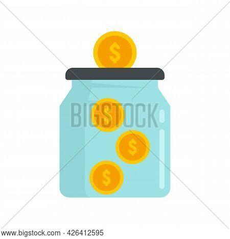 Money Crowdfunding Jar Icon. Flat Illustration Of Money Crowdfunding Jar Vector Icon Isolated On Whi