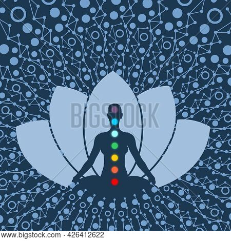 Woman Sit In Meditation Pose With Colored Chakra Points.
