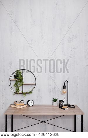 Modern Workplace In Office Or Home - Copy Space Over Concrete Wall Background