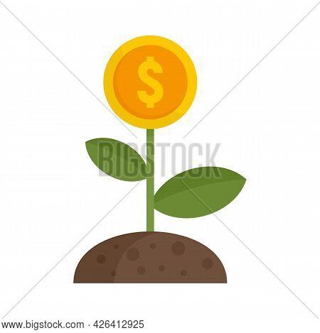 Crowdfunding Money Flower Icon. Flat Illustration Of Crowdfunding Money Flower Vector Icon Isolated