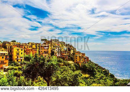 Landmarks Of Italy- National Park Cinque Terre And Picturesque Hilltop Village Corniglia . Liguria