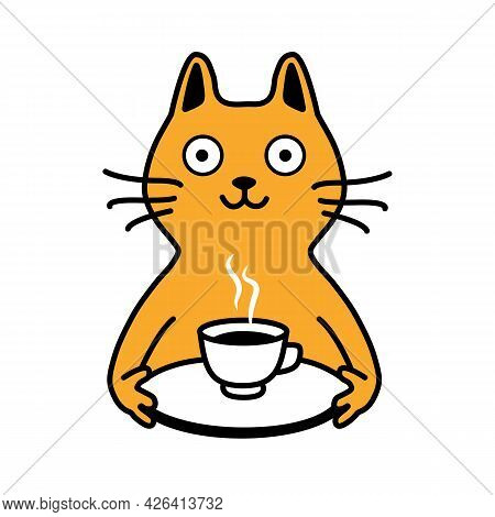 Cute Smiling Yellow Cat Serves You Coffee Or Tea On A Tray. Coffee In Bed. Simple Animalistic Flat I