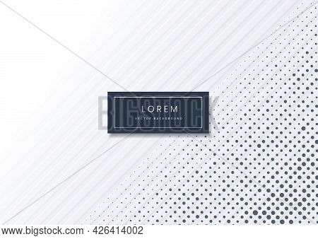 Abstract Diagonal Lines Light Silver Background Whith Blue Dot Pattern. Modern White And Gray Backgr