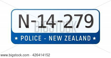 Realistic New Zealand Registration Plate For Police Car Vector Illustration
