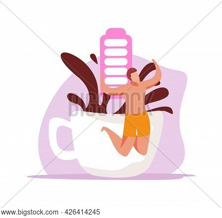Caffeine Stimulating Effect Flat Icon With Happy Character Coffee Cup And Full Battery Vector Illust