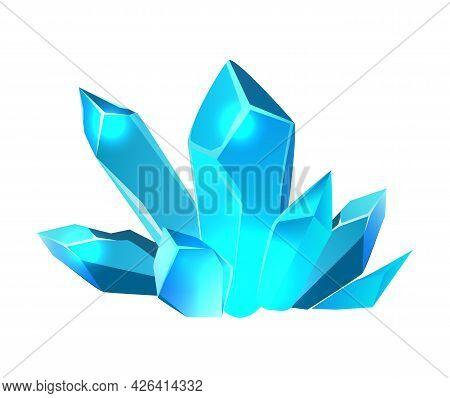 Blue Color Minerals For Game Design On White Background Cartoon Vector Illustration