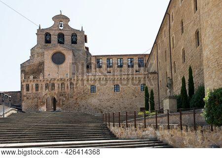 Facade Of Church Of San Salvador And Stairs To The Main Entrance. No People. Oña, Merindades Burgos,
