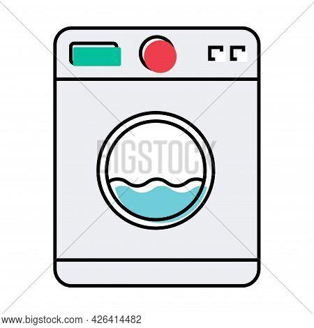 Washing Machine Equipment, Electric Washer Laundry Icon, Wash Symbol Clothes, Vector Illustration Ba