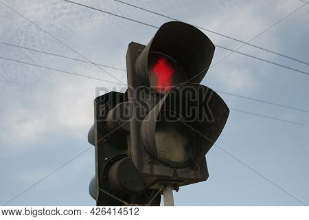 Traffic Light With A Prohibition Sign For Pedestrians