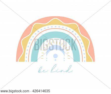 Bohemian Scandi Rainbow Card Design. Flat Boho Rainbow For Romantic Valentine's Day Greeting Card, N