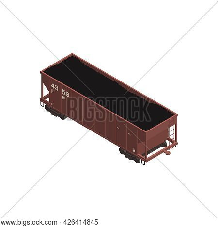 Freight Train Wagon With Coal Isometric Icon 3d Vector Illustration