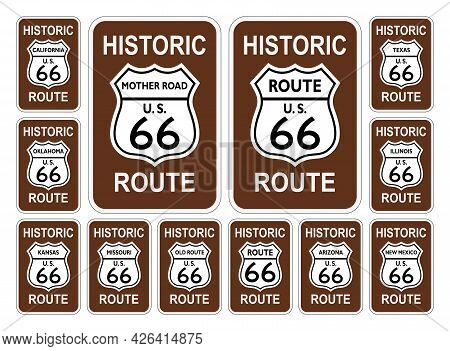 Route 66 Traffic Sign From United States Of America With All Related States In History Design On Iso
