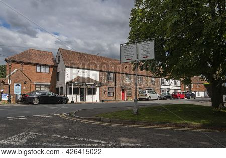 Godstone, Surrey, Uk August 2020 - Street View Of The Butchers Shop In Godstone, Surrey, Uk