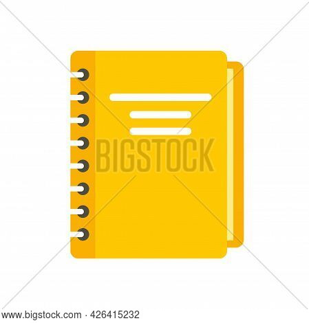 Yellow Notebook Icon. Flat Illustration Of Yellow Notebook Vector Icon Isolated On White Background