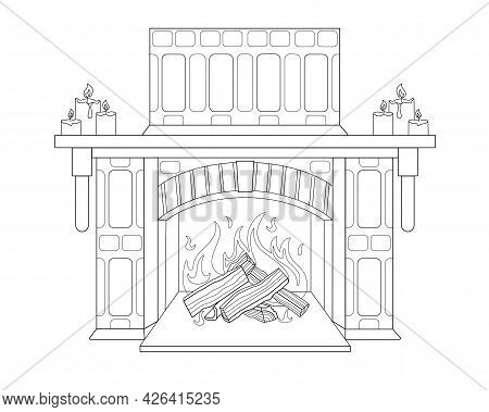 Decorative Stone Fireplace With Candles On The Mantelpiece - Vector Linear Picture For Coloring. Out