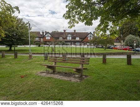 Godstone, Surrey, Uk August 2020 - A Wooden Bench On Godstone Green, Godstone, Surrey
