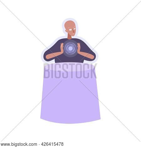 Character Of Blind Seer Predicting Future Flat Vector Illustration