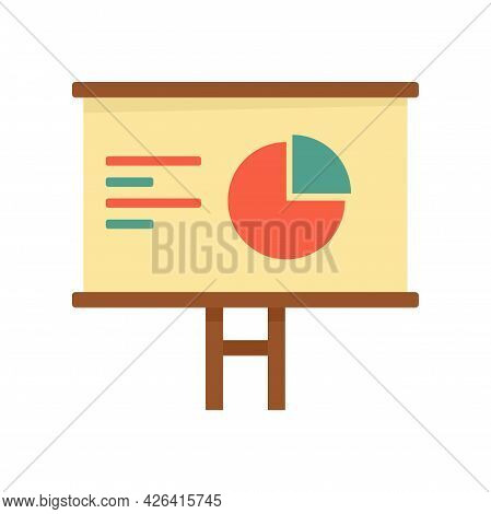 Pie Graph Board Icon. Flat Illustration Of Pie Graph Board Vector Icon Isolated On White Background