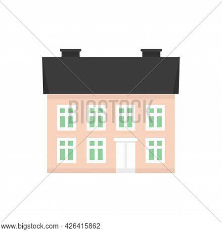 Facade Cottage Icon. Flat Illustration Of Facade Cottage Vector Icon Isolated On White Background