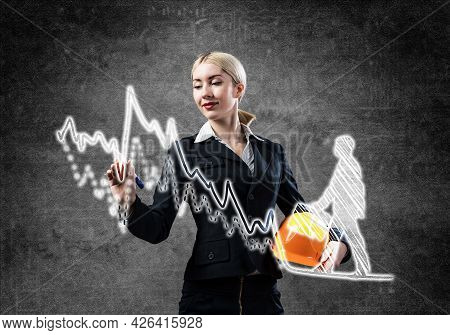 Business Lady Drawing Success Graph Of Professional Career. Strategy Planning And Development Of Per