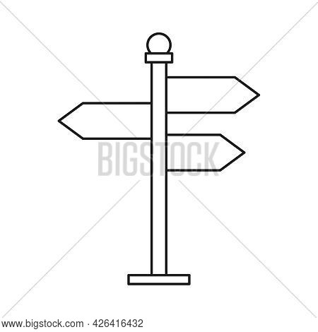 Direction Pointer Vector Icon In Linear Style. Arrow Signpost Symbol. Editable Stroke.