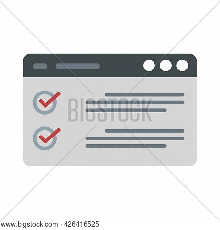 Web Checklist Icon. Flat Illustration Of Web Checklist Vector Icon Isolated On White Background