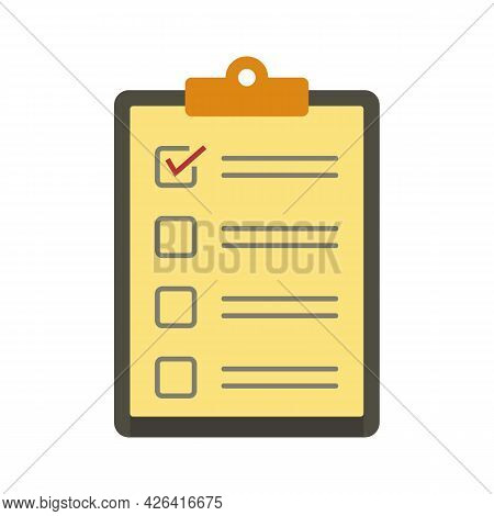 Paper Checklist Icon. Flat Illustration Of Paper Checklist Vector Icon Isolated On White Background