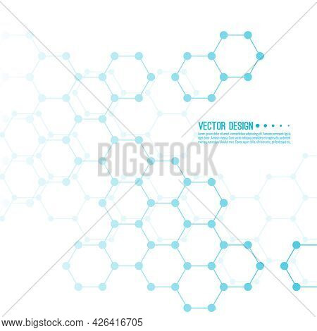 Abstract Background Of Hexagonal Molecular Structure. The Concept Of Innovative Healthcare, Biotechn