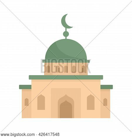 Mosque Icon. Flat Illustration Of Mosque Vector Icon Isolated On White Background