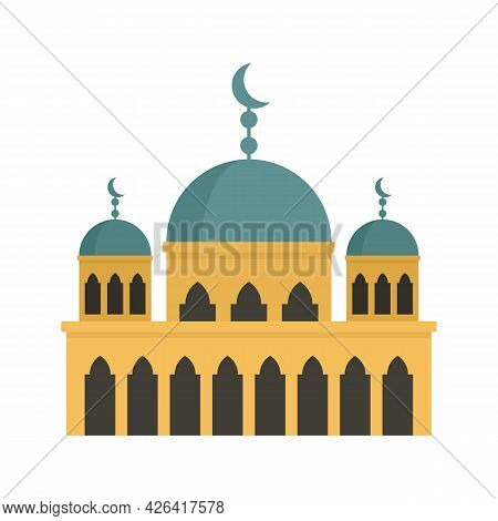 Modern Mosque Icon. Flat Illustration Of Modern Mosque Vector Icon Isolated On White Background