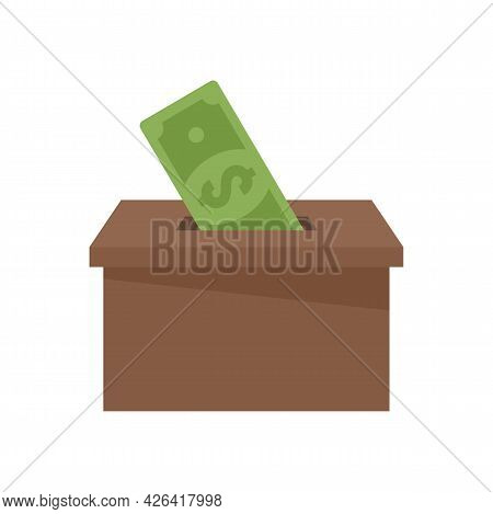 Money Box Donation Icon. Flat Illustration Of Money Box Donation Vector Icon Isolated On White Backg