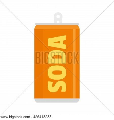 Soda Tin Can Icon. Flat Illustration Of Soda Tin Can Vector Icon Isolated On White Background