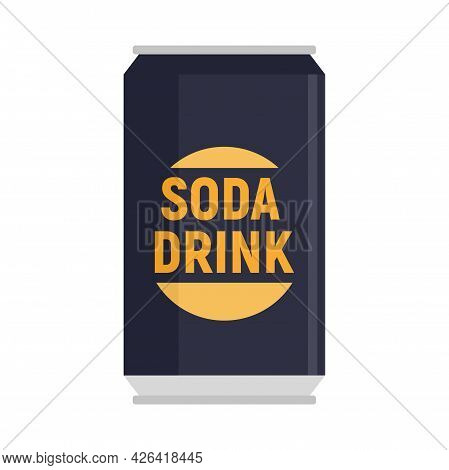 Soda Drink Can Icon. Flat Illustration Of Soda Drink Can Vector Icon Isolated On White Background