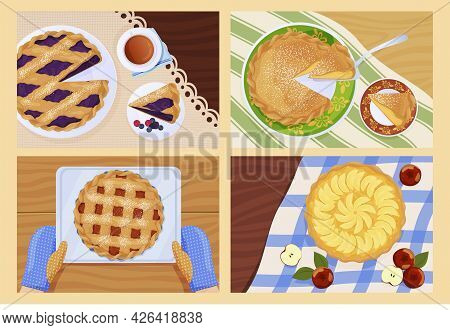 Collection Of Whole And Slice Pie Top View On Serving Table With Tablecloth Vector Flat Illustration