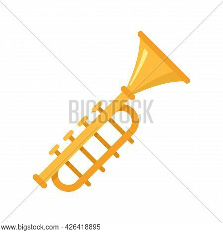 Gold Trumpet Icon. Flat Illustration Of Gold Trumpet Vector Icon Isolated On White Background