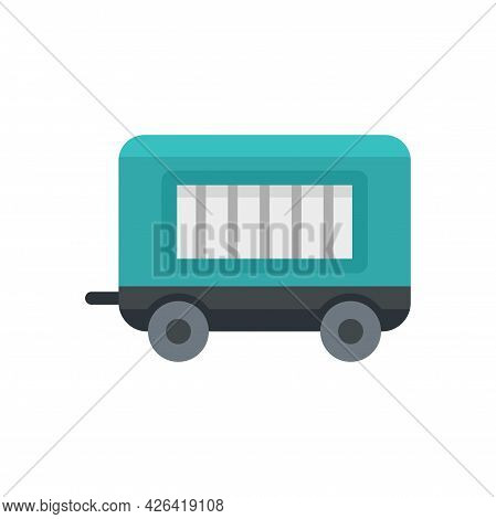 Circus Trailer Icon. Flat Illustration Of Circus Trailer Vector Icon Isolated On White Background